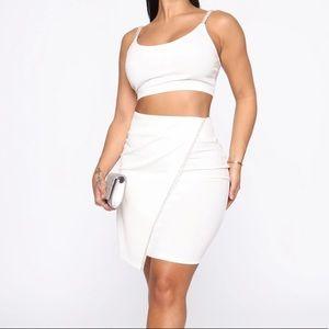 Rhinestone Trim Skirt Set